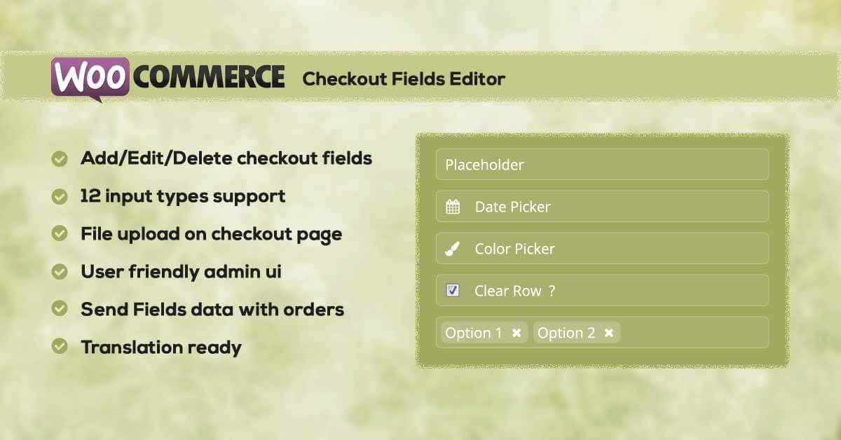 WC Checkout Fields Editor - WordPress Plugin