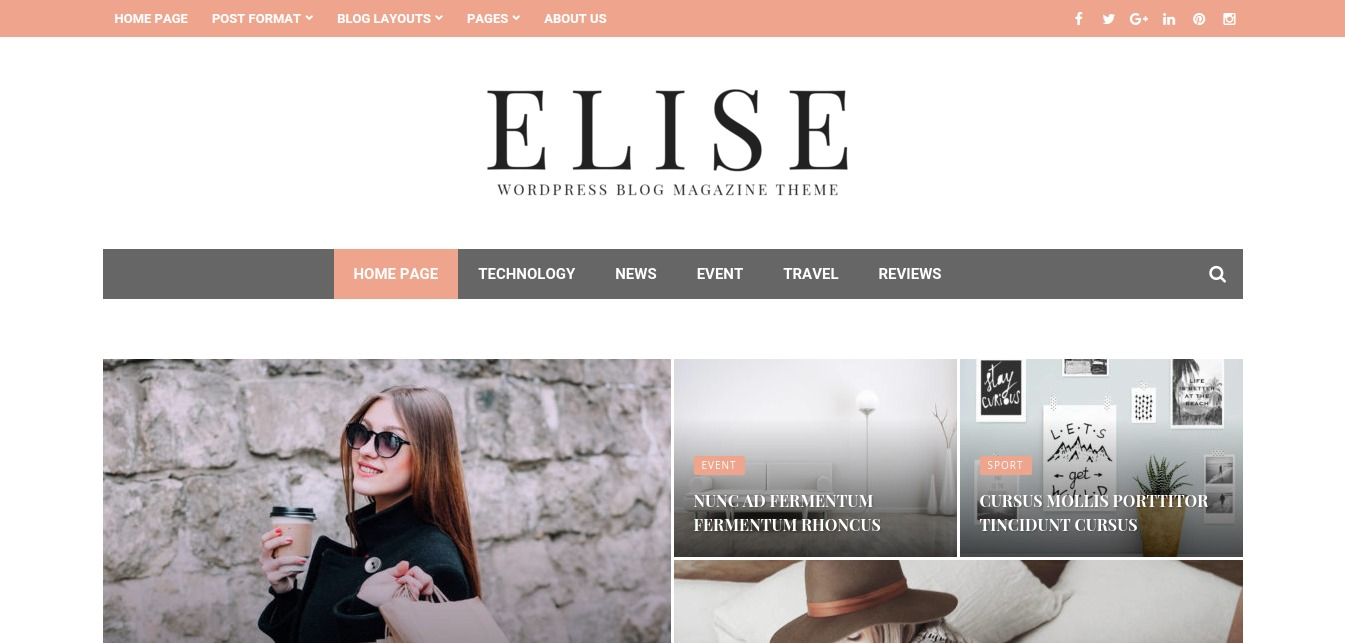 Elise – WordPress Blog Magazine and Blog Theme