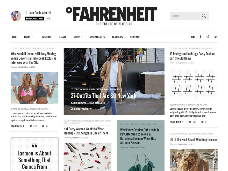 Fahrenheit - Responsive Personal WordPress Blog Theme